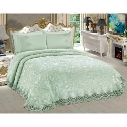 Fransız Dantelli Battaniye Takımı - Güpürlü Yatak Örtüsü - Su Yeşili Mint Renk
