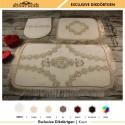 Bonny Home Exclusive Köşeli Krem 3lü Banyo Paspası Çeyizlik Dantelli Klozet Takımı