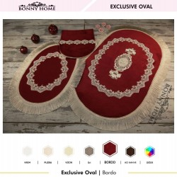 Bonny Home Exclusive Bordo Oval 3lü Dantelli Klozet Takımı