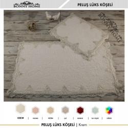 Bonny Home Peluş Lux Köşeli Krem 2li Dantelli Klozet Takımı Çeyizlik Banyo Halısı Paspası Seti
