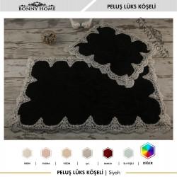 Bonny Home Peluş Lux Köşeli Siyah 2li Dantelli Klozet Takımı Çeyizlik Banyo Halısı Paspası Seti