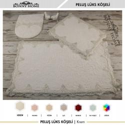 Bonny Home Peluş Lux Köşeli Krem 3lü Dantelli Klozet Takımı Çeyizlik Banyo Halısı Paspası Seti