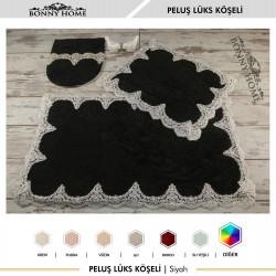 Bonny Home Peluş Lux Köşeli Siyah 3lü Dantelli Klozet Takımı Çeyizlik Banyo Halısı Paspası Seti