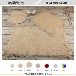 Bonny Home Peluş Lux Köşeli Vizon 3lü Dantelli Klozet Takımı Çeyizlik Banyo Halısı Paspası Seti