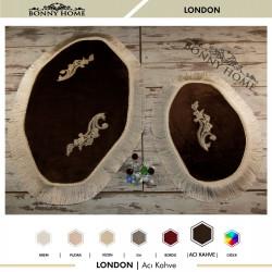 Bonny Home London Acı Kahve 2li Dantelli ve Saçaklı Klozet Takımı Banyo Halısı Paspası Seti