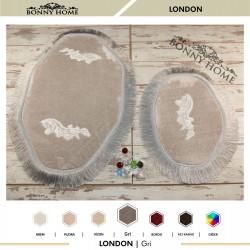Bonny Home London Gri 2li Dantelli ve Saçaklı Klozet Takımı Banyo Halısı Paspası Seti