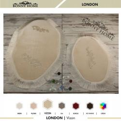 Bonny Home London Vizon 2li Dantelli ve Saçaklı Klozet Takımı Banyo Halısı Paspası Seti