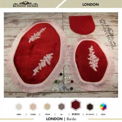 Bonny Home London Bordo 3lü Dantelli ve Saçaklı Klozet Takımı Banyo Halısı Paspası Seti