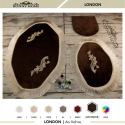 Bonny Home London Acı Kahve 3lü Dantelli ve Saçaklı Klozet Takımı Banyo Halısı Paspası Seti