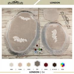 Bonny Home London Gri 3lü Dantelli ve Saçaklı Klozet Takımı Banyo Halısı Paspası Seti