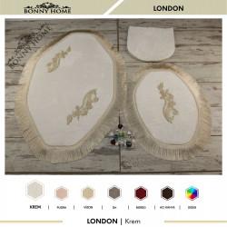 Bonny Home London Krem 3lü Dantelli ve Saçaklı Klozet Takımı Banyo Halısı Paspası Seti