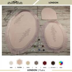 Bonny Home London Pudra 3lü Dantelli ve Saçaklı Klozet Takımı Banyo Halısı Paspası Seti