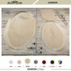 Bonny Home London Vizon 3lü Dantelli ve Saçaklı Klozet Takımı Banyo Halısı Paspası Seti