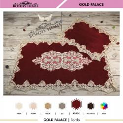 Bonny Home Gold Palace Bordo 2li Dantelli Klozet Takımı Çeyizlik Banyo Halısı Paspası Seti
