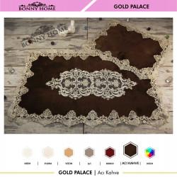 Bonny Home Gold Palace Acı Kahve 2li Dantelli Klozet Takımı Çeyizlik Banyo Halısı Paspası Seti