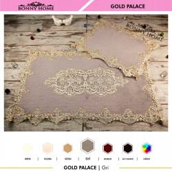 Bonny Home Gold Palace Gri 2li Dantelli Klozet Takımı Çeyizlik Banyo Halısı Paspası Seti