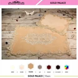 Bonny Home Gold Palace Vizon 2li Dantelli Klozet Takımı Çeyizlik Banyo Halısı Paspası Seti