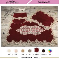 Bonny Home Gold Palace Bordo 3lü Dantelli Klozet Takımı Çeyizlik Banyo Halısı Paspası Seti