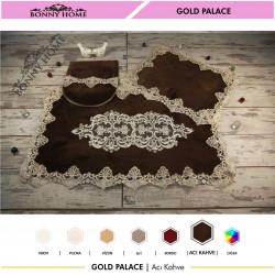 Bonny Home Gold Palace Acı Kahve 3lü Dantelli Klozet Takımı Çeyizlik Banyo Halısı Paspası Seti