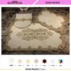 Bonny Home Gold Palace Krem 3lü Dantelli Klozet Takımı Çeyizlik Banyo Halısı Paspası Seti