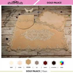 Bonny Home Gold Palace Vizon 3lü Dantelli Klozet Takımı Çeyizlik Banyo Halısı Paspası Seti