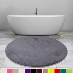 Bonny Home Elite Antrasit Yuvarlak Peluş Banyo Paspası Kaymaz Taban Pufidik Banyo Halısı - Ebat Seçenekli