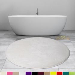 Bonny Home Elite Beyaz Yuvarlak Peluş Banyo Paspası Kaymaz Taban Pufidik Banyo Halısı - Ebat Seçenekli