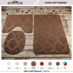 Bonny Home Ultrasoft Desenli 3lü Kahve Klozet Takımı Banyo Halısı Paspası Seti