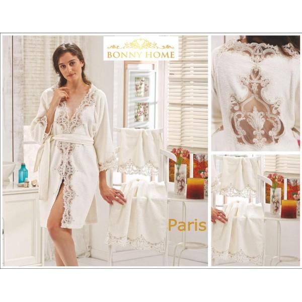 Bonny Home Paris Fransız Dantelli Balayı Kadın Bornoz Seti