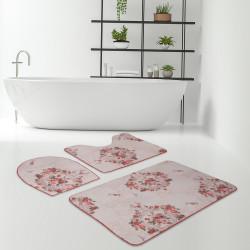 Bonny Home Saklıbahçe Oranj 3lü Banyo Paspası Halısı Seti Kaymaz Klozet Takımı