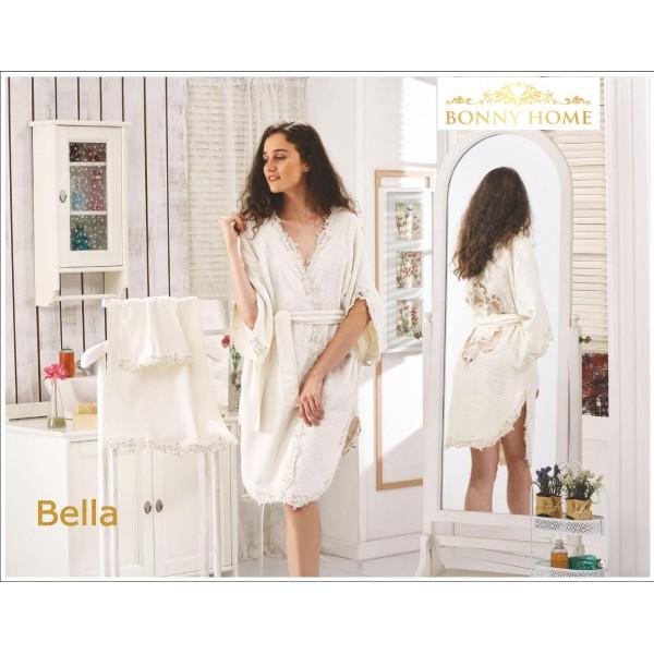 Bonny Home Bella Fransız Dantelli Balayı Kadın Bornoz Seti