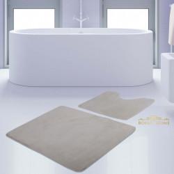 Bonny Home Unicolor Düz Krem 2li Banyo Paspası Halısı Seti Kaymaz Taban Klozet Takımı