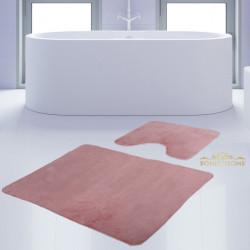 Bonny Home Unicolor Düz Pembe 2li Banyo Paspası Halısı Seti Kaymaz Taban Klozet Takımı