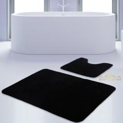 Bonny Home Unicolor Düz Siyah 2li Banyo Paspası Halısı Seti Kaymaz Taban Klozet Takımı