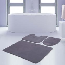 Bonny Home Unicolor Düz Gri 3lü Banyo Paspası Halısı Seti Kaymaz Taban Klozet Takımı