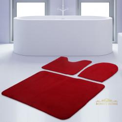 Bonny Home Unicolor Düz Kırmızı 3lü Banyo Paspası Halısı Seti Kaymaz Taban Klozet Takımı