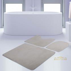 Bonny Home Unicolor Düz Krem 3lü Banyo Paspası Halısı Seti Kaymaz Taban Klozet Takımı