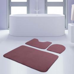 Bonny Home Unicolor Düz Mürdüm 3lü Banyo Paspası Halısı Seti Kaymaz Taban Klozet Takımı