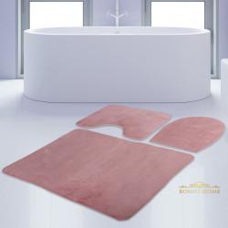 Bonny Home Unicolor Düz Pembe 3lü Banyo Paspası Halısı Seti Kaymaz Taban Klozet Takımı