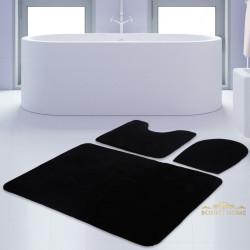 Bonny Home Unicolor Düz Siyah 3lü Banyo Paspası Halısı Seti Kaymaz Taban Klozet Takımı