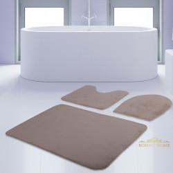Bonny Home Unicolor Düz Vizon 3lü Banyo Paspası Halısı Seti Kaymaz Taban Klozet Takımı