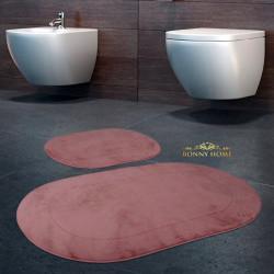 Bonny Home Rixos Pudra 2li Banyo Halısı Paspası Seti Kaymaz Tabanlı Klozet Takımı