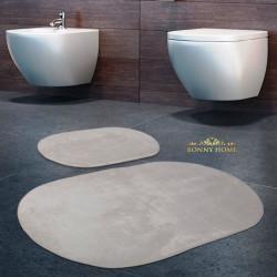 Bonny Home Rixos Krem 2li Banyo Halısı Paspası Seti Kaymaz Tabanlı Klozet Takımı