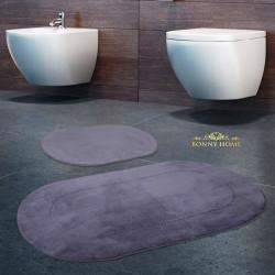 Bonny Home Rixos Gri 2li Banyo Halısı Paspası Seti Kaymaz Tabanlı Klozet Takımı