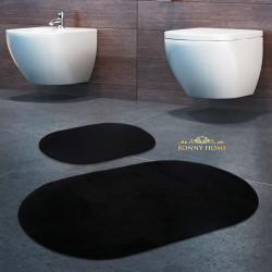 Bonny Home Rixos Siyah 2li Banyo Halısı Paspası Seti Kaymaz Tabanlı Klozet Takımı