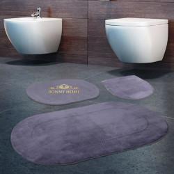 Bonny Home Rixos Gri 3lü Banyo Halısı Paspası Seti Kaymaz Tabanlı Klozet Takımı