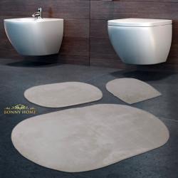 Bonny Home Rixos Krem 3lü Banyo Halısı Paspası Seti Kaymaz Tabanlı Klozet Takımı