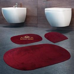 Bonny Home Rixos Mürdüm 3lü Banyo Halısı Paspası Seti Kaymaz Tabanlı Klozet Takımı
