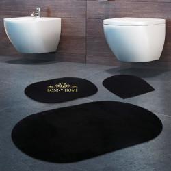 Bonny Home Rixos Siyah 3lü Banyo Halısı Paspası Seti Kaymaz Tabanlı Klozet Takımı