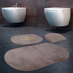 Bonny Home Rixos Vizon 3lü Banyo Halısı Paspası Seti Kaymaz Tabanlı Klozet Takımı
